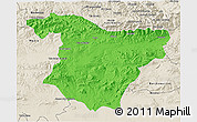Political 3D Map of Bouira, shaded relief outside