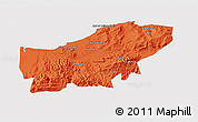 Political 3D Map of Boumerdes, cropped outside
