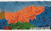 Political 3D Map of Boumerdes, darken