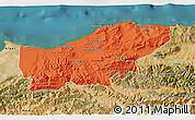 Political 3D Map of Boumerdes, satellite outside