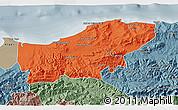 Political 3D Map of Boumerdes, semi-desaturated