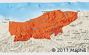 Political 3D Map of Boumerdes, shaded relief outside