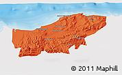 Political 3D Map of Boumerdes, single color outside