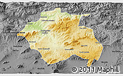 Physical 3D Map of Constantine, darken, desaturated