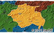 Political 3D Map of Constantine, darken