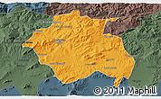 Political 3D Map of Constantine, darken, semi-desaturated