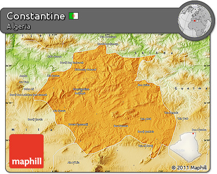 Political Map of Constantine, physical outside