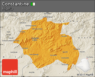 Political Map of Constantine, shaded relief outside