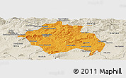 Political Panoramic Map of Constantine, shaded relief outside