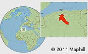 Savanna Style Location Map of Djelfa