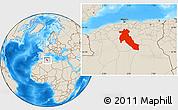 Shaded Relief Location Map of Djelfa