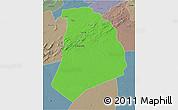 Political 3D Map of El Bayadh, semi-desaturated