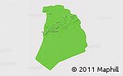 Political 3D Map of El Bayadh, single color outside
