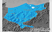 Political 3D Map of El Tarf, darken, desaturated