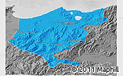 Political 3D Map of El Tarf, desaturated