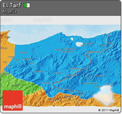 Political 3D Map of El Tarf