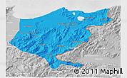 Political 3D Map of El Tarf, lighten, desaturated