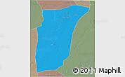 Political 3D Map of GhardaSa, semi-desaturated