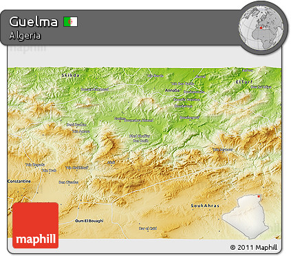 Physical 3D Map of Guelma