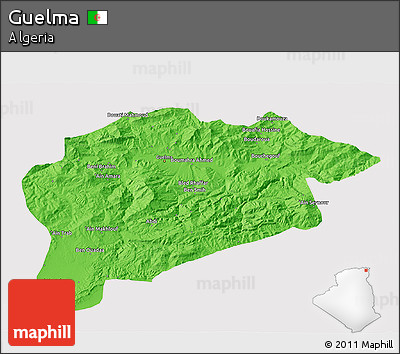 Political 3D Map of Guelma, cropped outside
