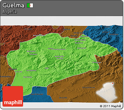 Political 3D Map of Guelma, darken