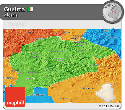 Political 3D Map of Guelma