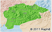 Political 3D Map of Guelma, lighten