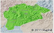 Political 3D Map of Guelma, lighten, semi-desaturated