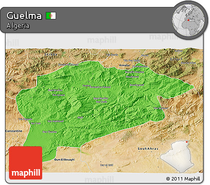 Political 3D Map of Guelma, satellite outside