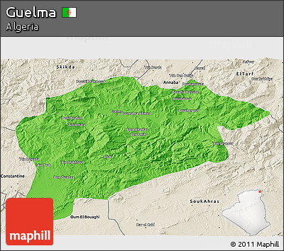 Political 3D Map of Guelma, shaded relief outside