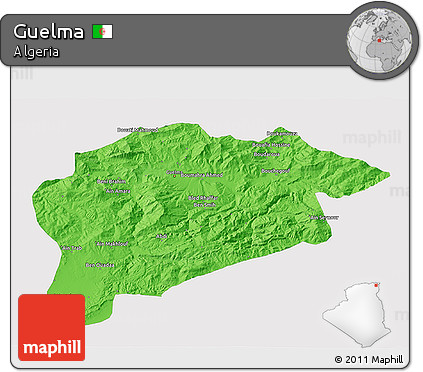 Political 3D Map of Guelma, single color outside