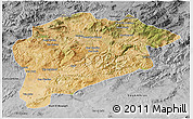 Satellite 3D Map of Guelma, desaturated