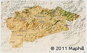 Satellite 3D Map of Guelma, lighten
