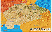 Satellite 3D Map of Guelma, political outside