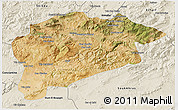 Satellite 3D Map of Guelma, shaded relief outside