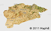 Satellite 3D Map of Guelma, single color outside