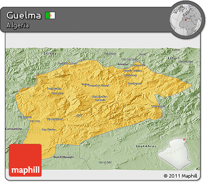 Savanna Style 3D Map of Guelma