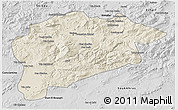 Shaded Relief 3D Map of Guelma, desaturated