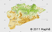 Physical Map of Guelma, single color outside