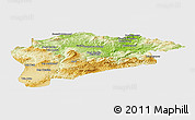 Physical Panoramic Map of Guelma, single color outside