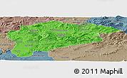 Political Panoramic Map of Guelma, semi-desaturated