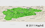 Political Panoramic Map of Guelma, shaded relief outside