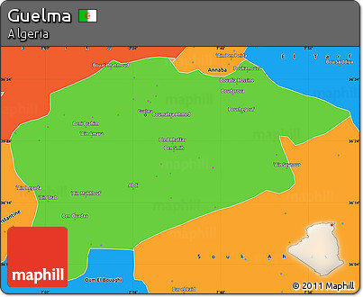 Political Simple Map of Guelma