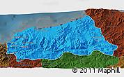 Political 3D Map of Jijel, darken