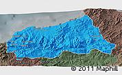 Political 3D Map of Jijel, darken, semi-desaturated