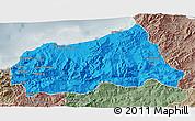 Political 3D Map of Jijel, semi-desaturated