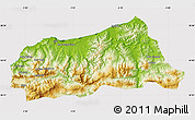 Physical Map of Jijel, cropped outside