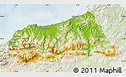 Physical Map of Jijel, lighten