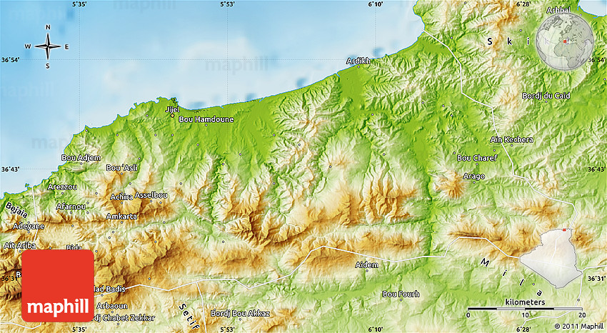 Physical Map Of Jijel - Algeria physical map