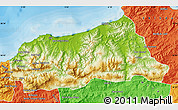 Physical Map of Jijel, political outside